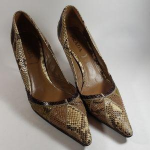 Prada Patchwork Snakeskin Pumps Pointed Toe Heels
